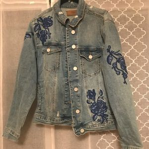 Blank NYC Jackets & Coats - Blank Jean jacket with floral embroidery patches